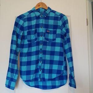 2/$20 Hollister woman size S blue plaid shirt top